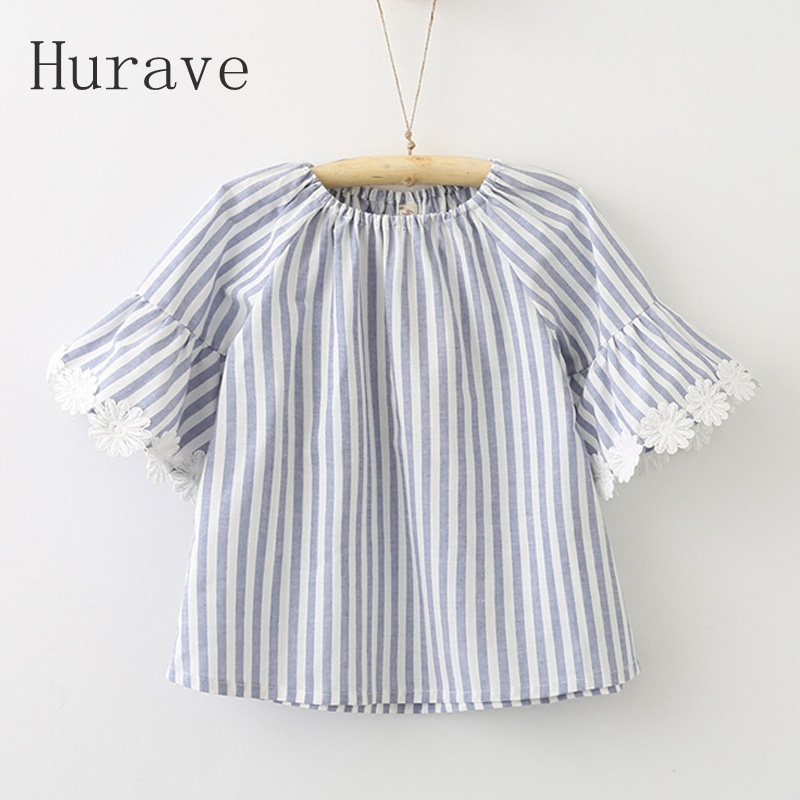 Hurave 2017 Girls o neck font b dress b font summer lace floral flare sleeve girl