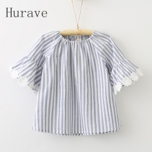 Hurave 2017 Girls o neck dress summer lace floral flare sleeve girl summer clothing casual kids infantis vestidos
