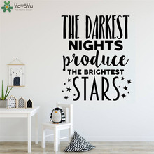 The Darkest Nights Produce The Brightest Stars Stickers Vinyl Wall Decal For Nursery Kids Room Inspirational Art Decoration QQ42 the darkest child