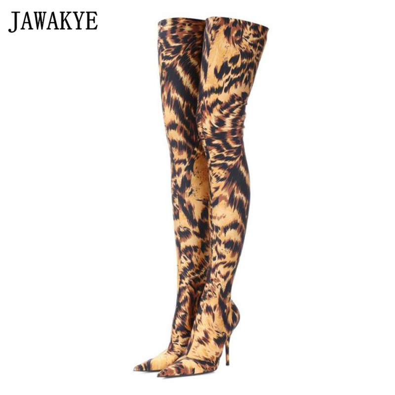 JAWAKYE designer Leopard print Thigh High Boots High Heels ankle boots Pointed toe slim stretch Over the Knee boots sock shoes bigtree women sock stretch boots over the knee thigh high boots metallic high heels pointed toe dress sexy shoes party clubwear