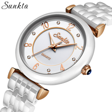 SUNKTA Fashion Simple Diamond Quartz Women Watches Waterproof Dress Bracelet Clock Top Brand Luxury Zegarek Damski