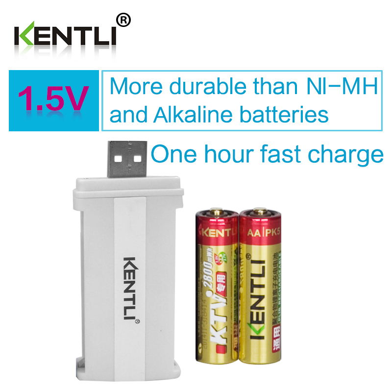 Wholesale Factory direct sales 2pcs KENTLI 1.5v AA PK5 2800mWh Rechargeable Li-polymer Lithium battery +smart lithium charger