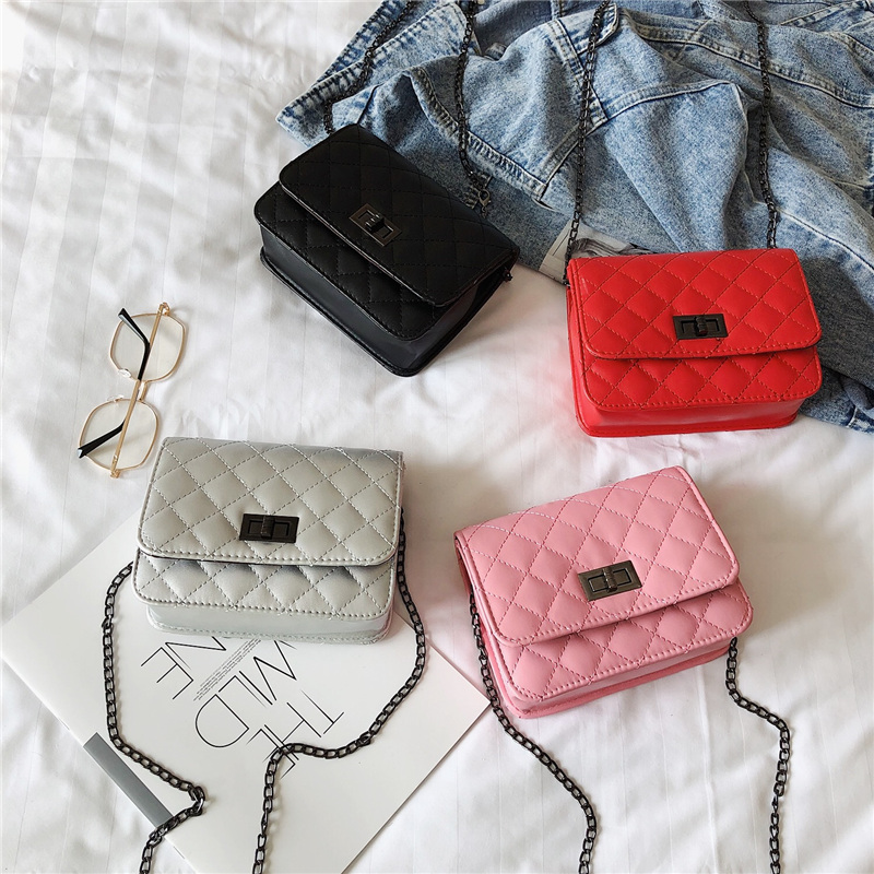 Bag 2019 Korean Version Of The New Rhombic Chain Small Square Bag Shoulder Messenger Bag Fashion Lock Buckle Handbag Mini Bag