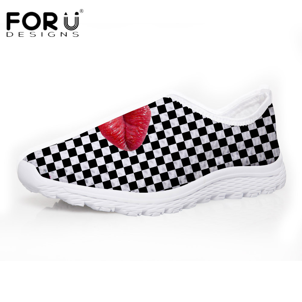 FORUDESIGNS Sexy 3D Red Lips Prints Women Breathable Mesh Shoes Summer Fashion Casual Slip-on Flats Shoes for Ladies Teenage new women shoes breathable fashion ladies flats non slip summer wedges shoes for women aa10218