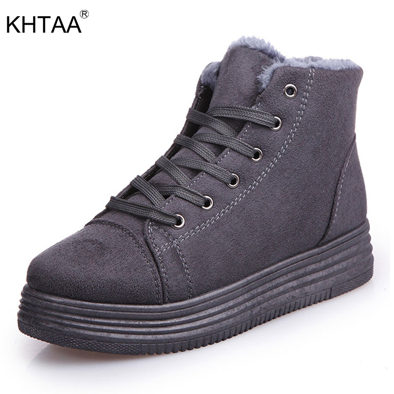 KHTAA 2017 Women Winter Suede Warm Plush Platform Ankle Snow Boots Ladies Fashion Style Casual Lace Up Shoes Botas Mujer