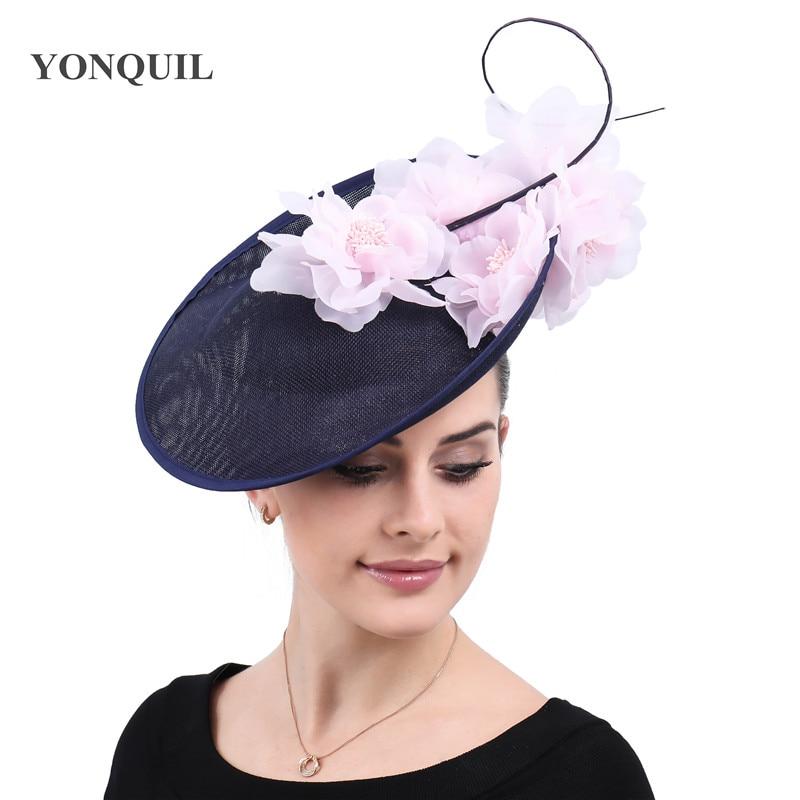 Charming Big Kentucky Derby Hair Fascinators Navy Hats Ladies Elagnt Wedding Headwear Bridalwedding Race Party Headpiece SYF540