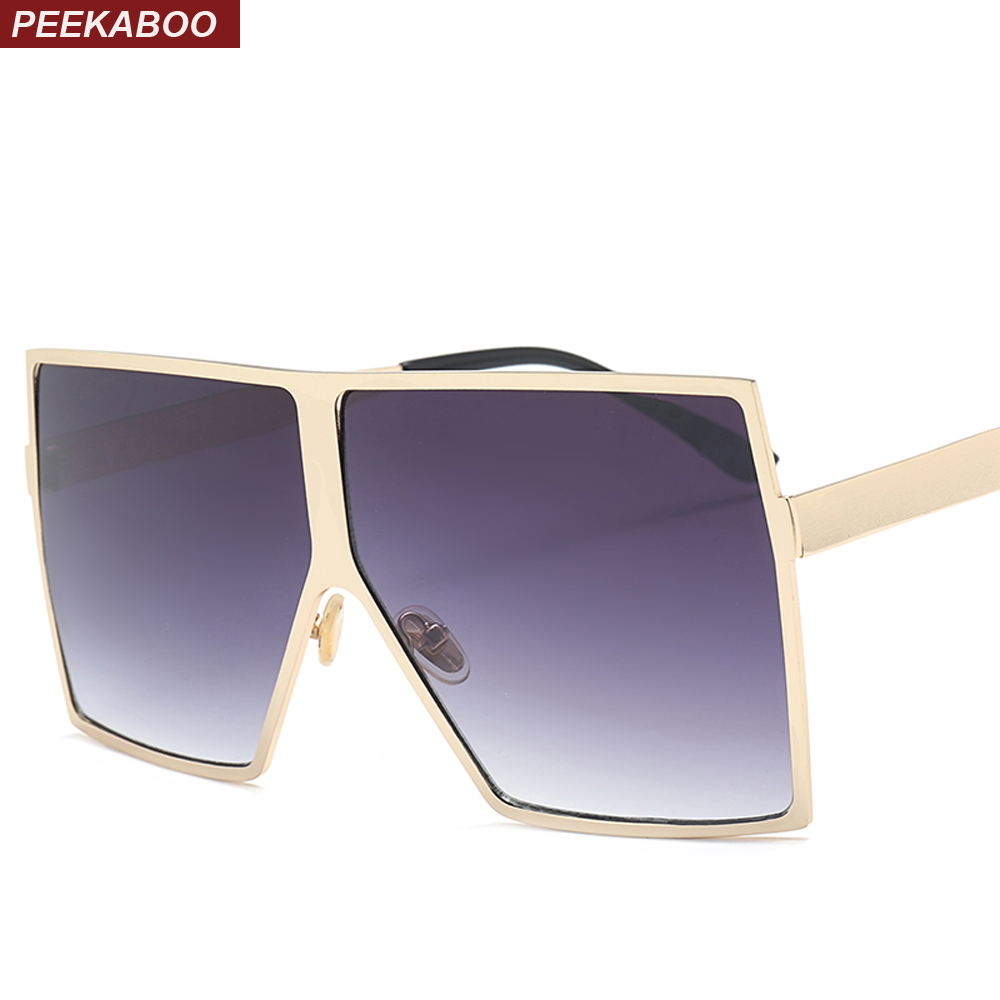 Peekaboo oversized square sunglasses men brand metal frame gold silver black big sun glasses for women male 2018 uv400