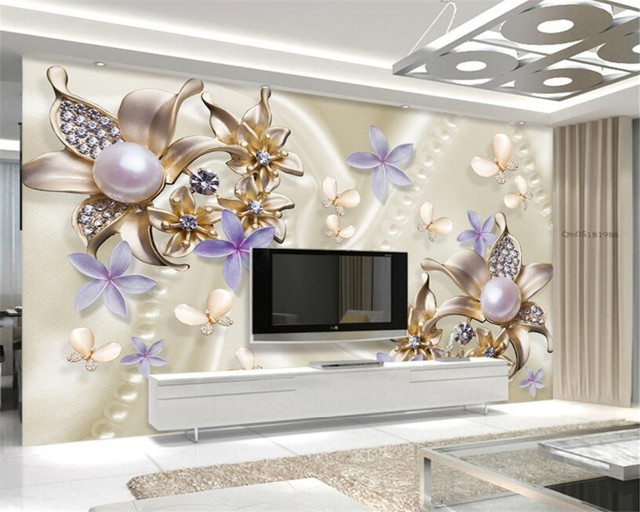 Beibehang Wall Paper Home Decor European Style Pearl Diamond Flower  Butterfly Romantic TV Backdrop 3D Wallpaper