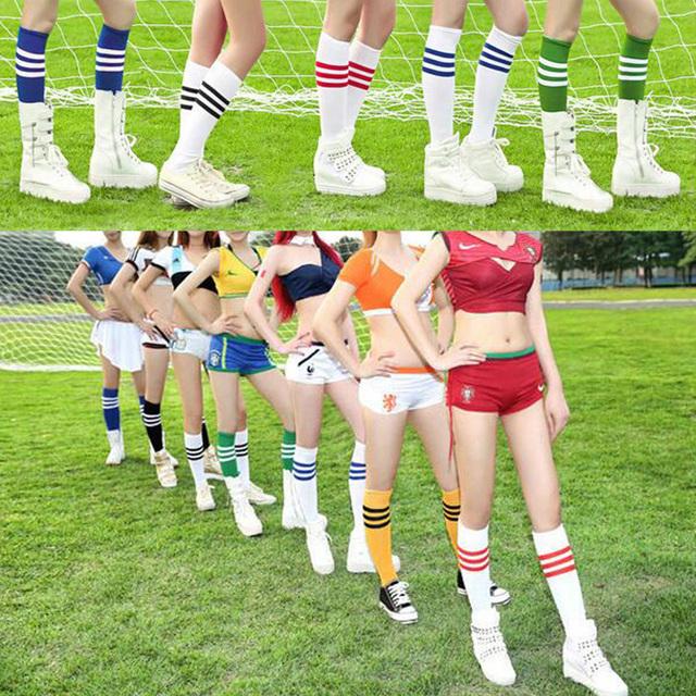 1 Pair New Adult Striped Thicken Soccer Baseball Football Socks Over Knee Ankle Sports Long Cotton Socks for girl Women