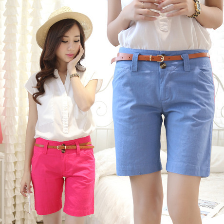 2016 New high waist shorts Women Cotton+Linen Summer Wide Leg Woman Shorts pantalones feminino Black,Green,Black,Pink S~XXL