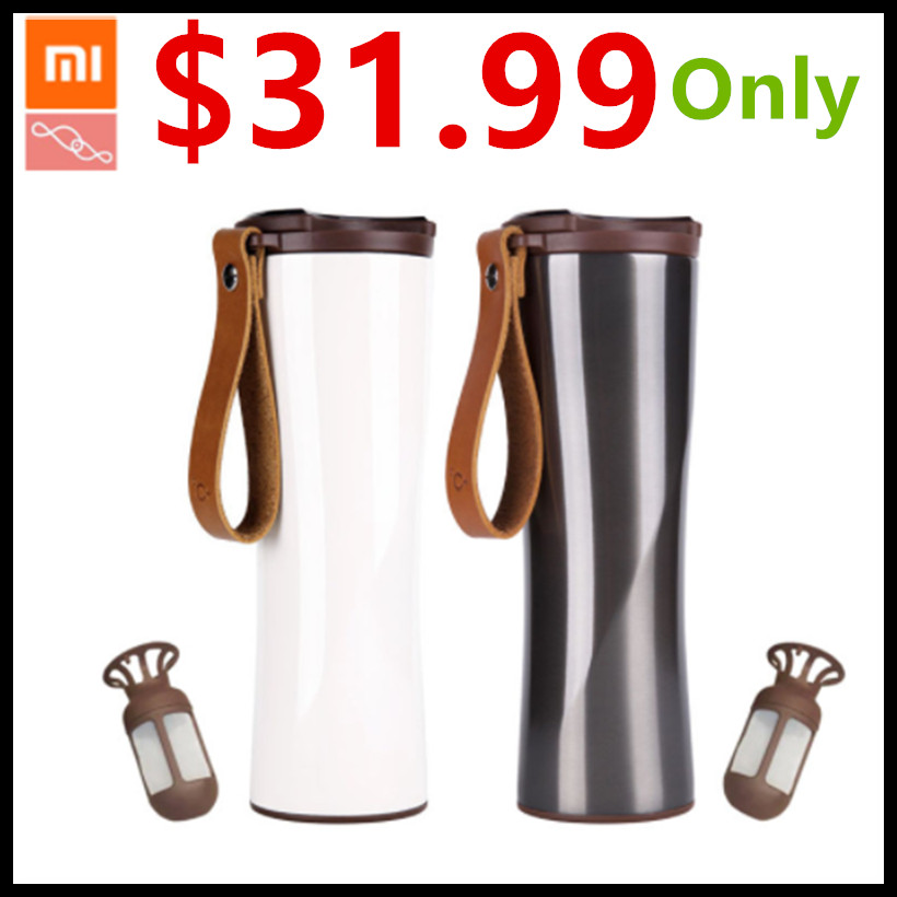 Xiaomi Kiss Kiss Fish Slim Smart Cup 430ml OLED Temperature Screen Protable Stainless Steel Cup with Leather Rope Mug Option