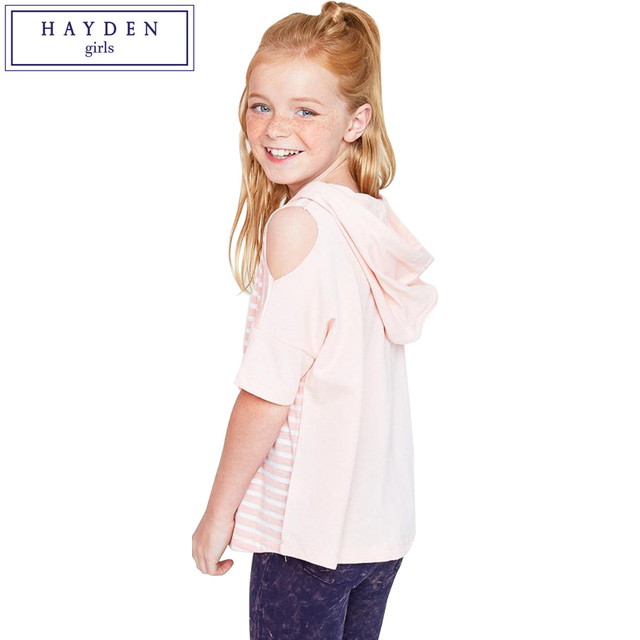 374437546ce62 HAYDEN Girls Half Sleeve T-Shirt Summer 2018 New Brand Teenage Girls  Hoodies Cut Out Shoulder Tops for Children Age 7 to 14