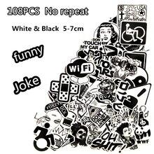 108 ADET komik marka dizüstü Siyah ve Beyaz Sticker Araba Styling Kızak Kutusu Bagaj Buzdolabı Oyuncak Çıkartması Ev dekor DIY S ...