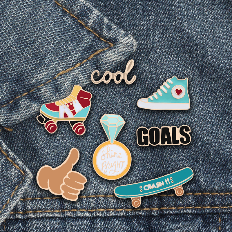 1 Pc Metal Brooch Collar Pins Alloy Brooches Jeans Shirt Handbag Badges On Backpack Anime Clothes Cartoon Pin Dependable Performance Arts,crafts & Sewing Badges