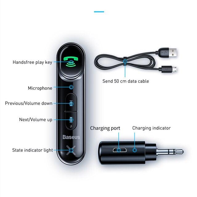 Baseus voiture Aux Bluetooth 5.0 adaptateur sans fil 3.5mm récepteur Audio pour Auto Bluetooth Kit mains libres voiture haut-parleur casque 5