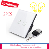 2PCS EU/UK Standard 2gang 1way white Eruiklink Wireless Remote Control Switches,RF433 Remote Control wall Touch Switch