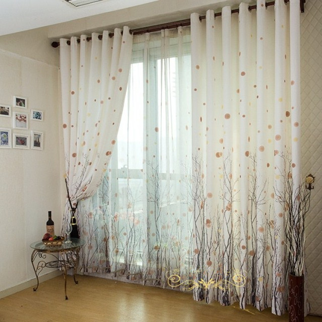 Rich Tree Curtain Modern Brief Rustic Fluid Quality Finished Window Curtains Production Bedroom Tulle In From Home