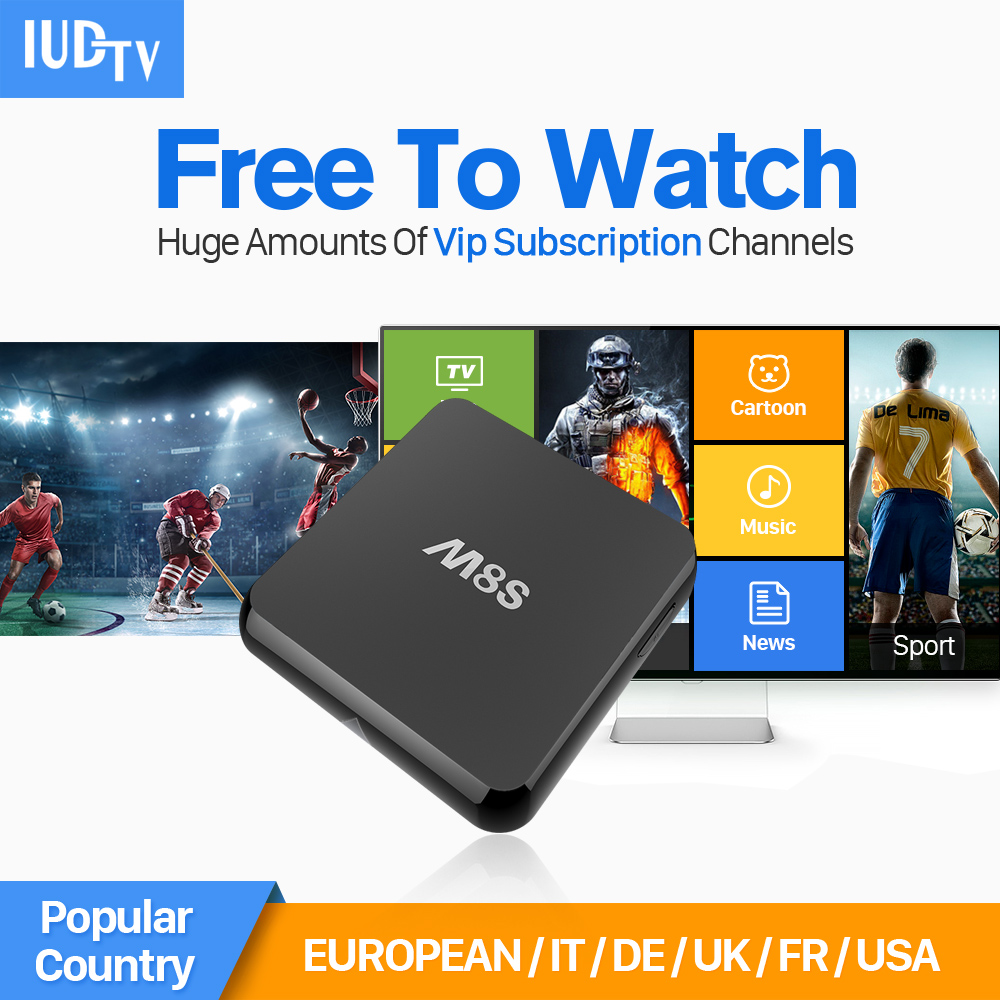 M8S HD Media Player Smart stb Android TV Box 2g ram With 1 Year IUDTV IPTV Channels Europe Arabic French Africa TV Receivers Box gotit cs918 android 4 4 tv box with 1year arabic royal iptv europe africa latino american iptv rk3128 media player smart tv box