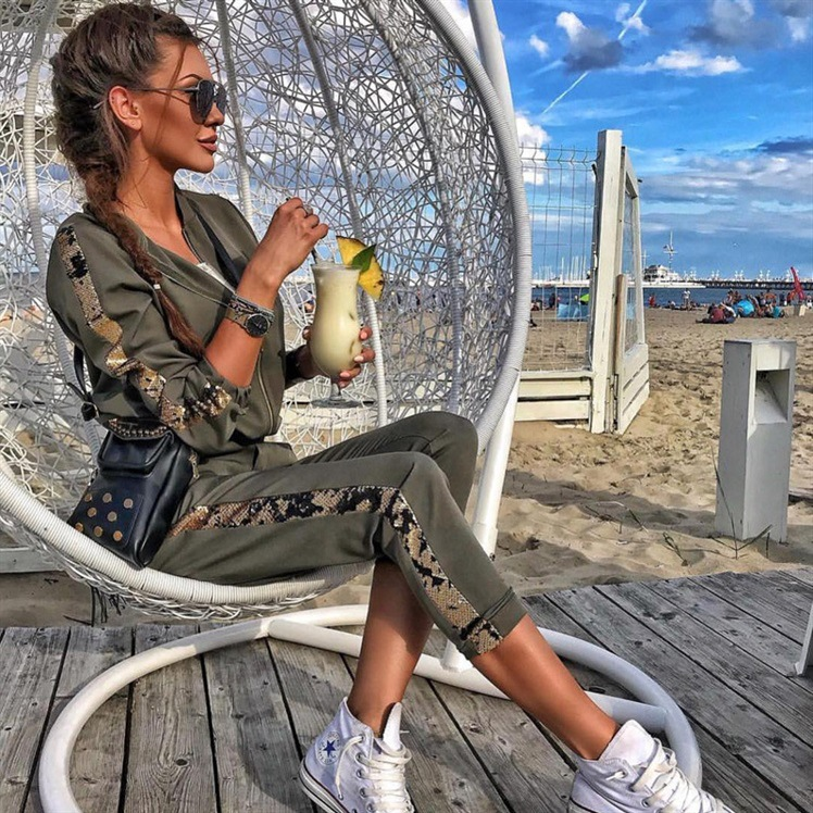ZOGAA 2019 Women Sports Suit Casual Sequins Stitching Jacket Trousers Sweat Suits Women Two Piece Set Top And Pants Tracksuit