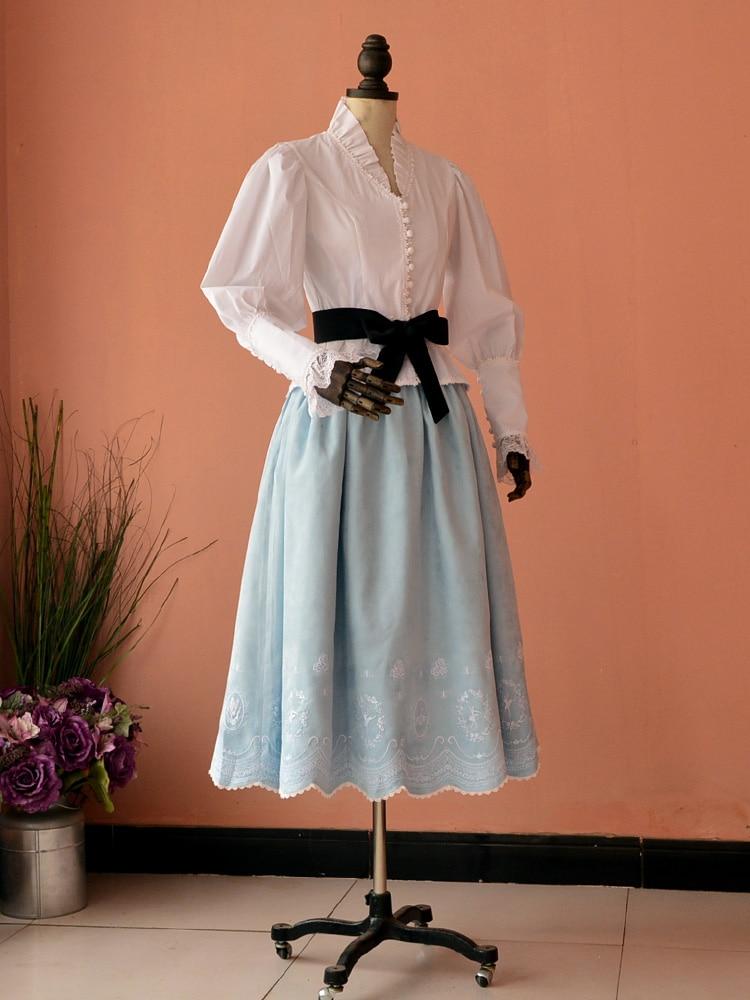 Victorian women lantern sleeve shirt vintage gothic lolita costume office shirt Female Splice Cotton blouse