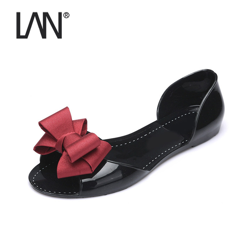 New Women Flats Shoes Peep Toe Beach Bow Tie Jelly Causal Woman Summer Flip Flops Slip on Slippers Women Sandals Beach Shoes новая вода к687