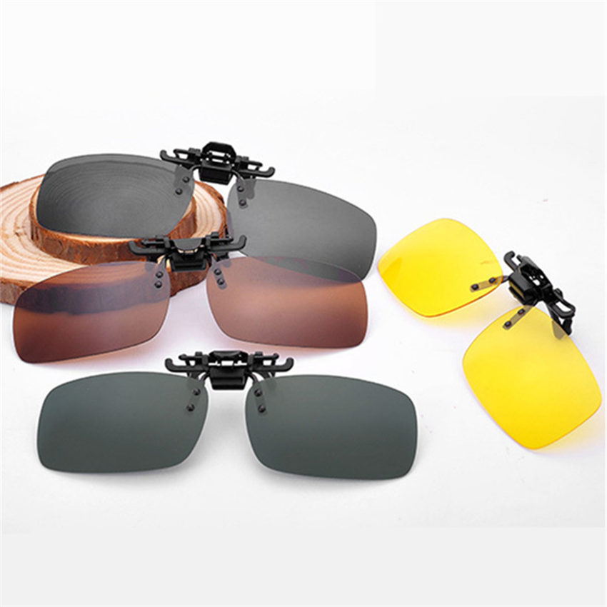 Men Women Retro Flip Up Polarized Sunglasses Clip On Myopia Glasses Kids Day Night Vision Goggles Sun Glasses UV400 Three sizes
