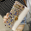 2016 New Fashion Satin Crystal Evening Clutch Bags Women Charm Handbag Party Dress Accessories 4 colors High Quality