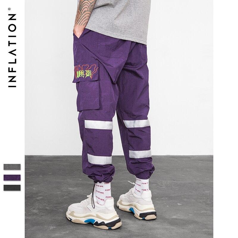 Инфляция брюки-ветровки ночь спортивных флуоресцентные свободный крой мотобрюки 2018 уличная брендовая одежда Street пот брюки для девочек 8857 В...