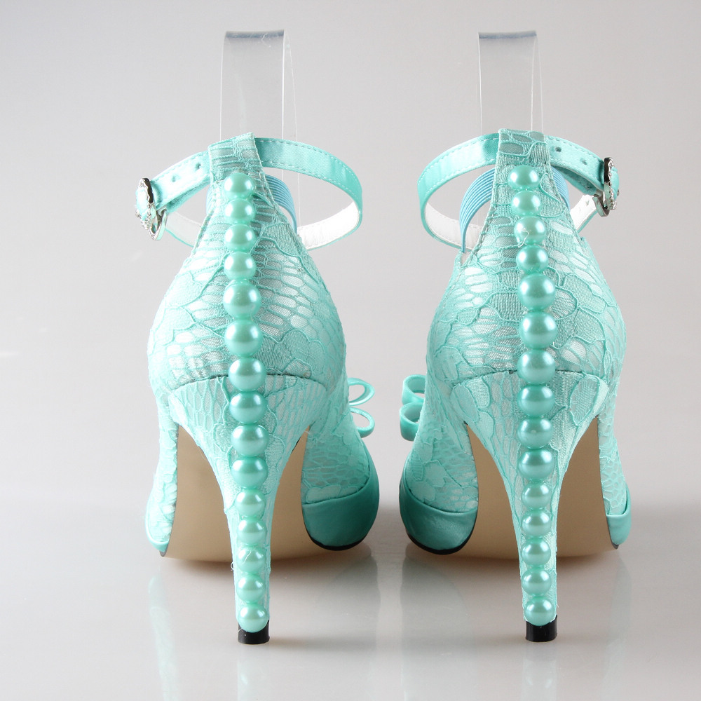 Handmade light mint green lace satin bow heel wedding party prom ...