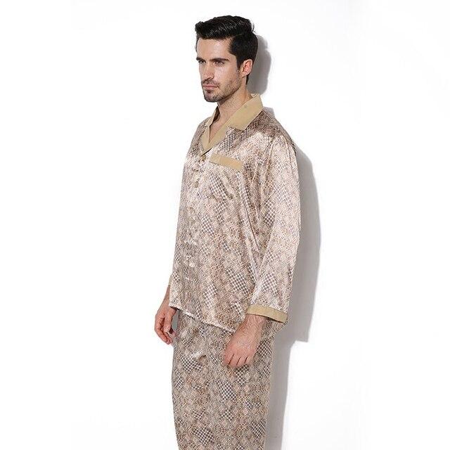 Luxury Male Sleepwear 100% Silk Long-Sleeve Men Pyjamas Pajama Sets Pants Autumn Men Silk Pajamas Set CMR6768