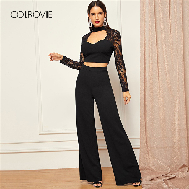 29ec3a619f7 COLROVIE Black Long Sleeve Cut Out Sexy Lace Two Piece Set Crop Top and  Pants Suit Set 2018 Autumn Outfit Elegant Women Set