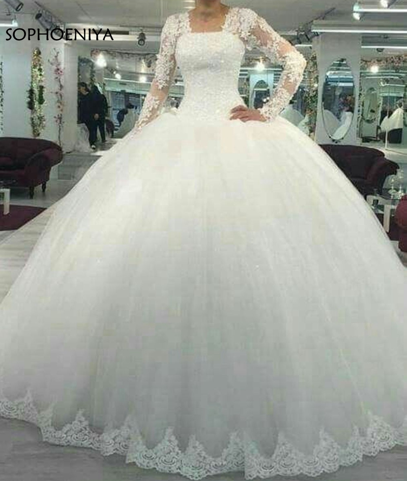 New Arrival Long sleeve wedding dresses 2019 muslim wedding dress Lace Beading Robe de mariee bridal gown Abito da sposa