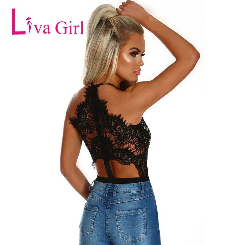 Liva Girl Black Sexy Eyelash Lace Bodysuit For Women 2019 High Waist V Neck Sleeveless Body Top Bodycon Jumpsuits Female Rompers