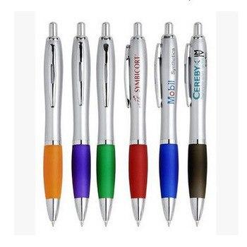 500pcs/lot DHL promotional advertising pen with logo advertising plastic press ballpoint pen customized wholesale ballpoint pen