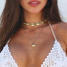 цены на 2019 Fashion Moon Pendants Necklace Gold Bohemia Multi layer Beads Necklace Women's Metal Shell Necklace For Summer Girl  в интернет-магазинах