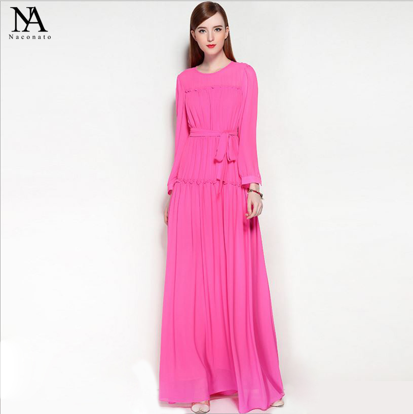 New Arrival 2018 Spring Womens O Neck Long Sleeves Ruffles Ruched Elegant Party Maxi Runway Dresses with Sash Belt