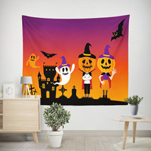Horror Halloween Hippie Wall Tapestry Pumpkin Bat Ghost Castle Psychedelic Tapestry Wall Fabric Witchcraft Wall Hanging Tapestry pumpkin lamp wall art halloween tapestry