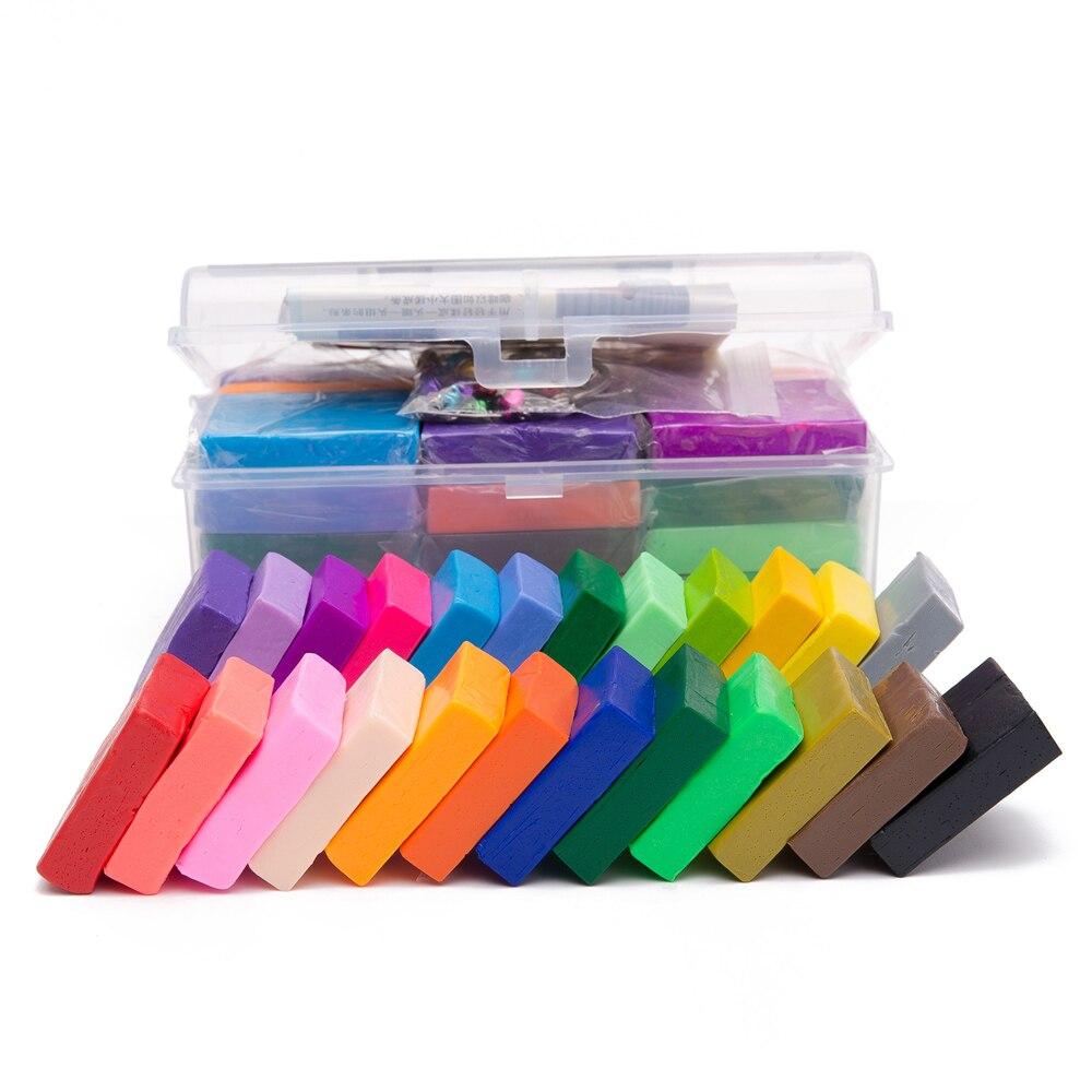 24 couleurs polymère argile bricolage doux modélisation argile ensemble avec 5 pièces outils boîte-cadeau pour enfant non toxique Slime jouets malléable - 3