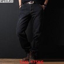 Джинсы больших размеров, большие мужские свободные брюки 10XL 11XL 12XL, осенне-зимние джинсы, эластичные прямые брюки 54 56 58 стрейч