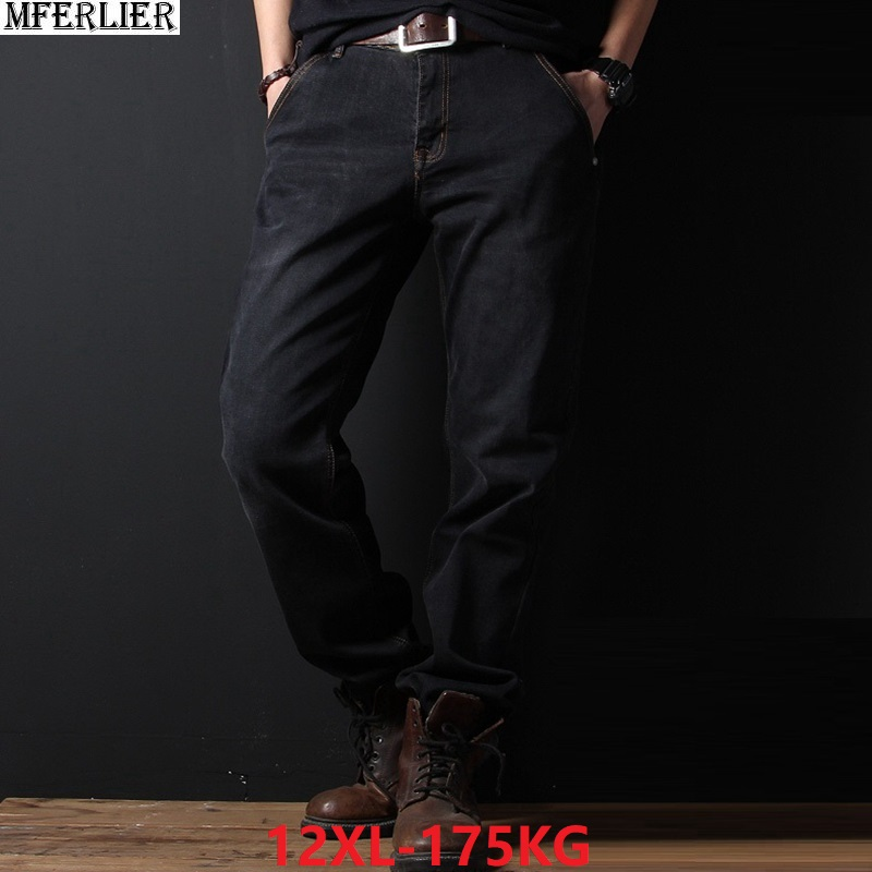 Plus Large Size Jeans Big Men Loose Free Trousers 10XL 11XL 12XL Autumn Winter Jeans Pants Elasticity Straight 54 56 58 Stretch
