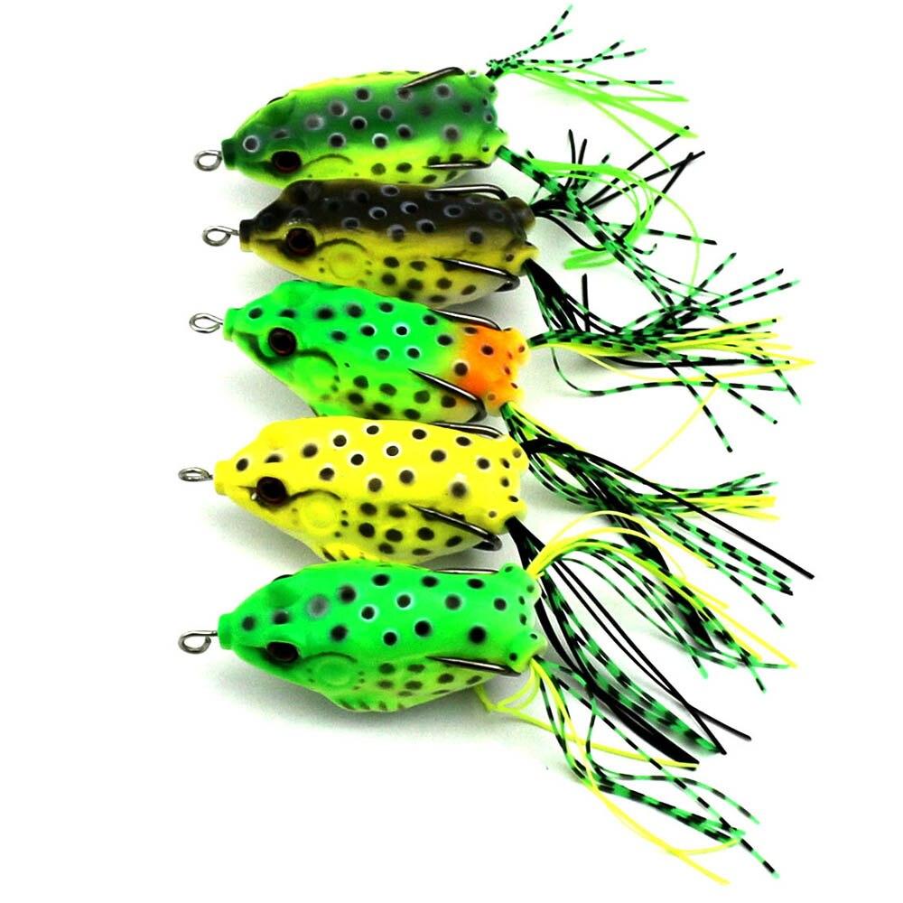 10 pcs lot Frog Lure Double Hooks Bait Crankbaits Fishine Lures 5 Colors 5 5cm 12g