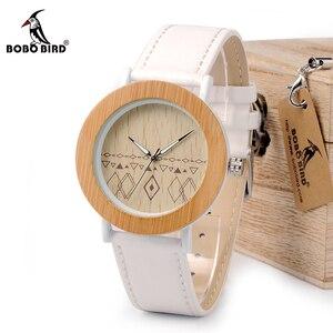 Image 1 - BOBO VOGEL WE24 Unisex Top Marke Designer Armbanduhren Für Frauen Natur Bambus & Stahl Uhren in Geschenk Boxen Dropshipping OEM