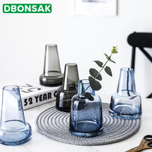 Nordic Style Castle Vase Gray/blue Glass Personality Creative Lighthouse Flower Pot Home Living Room Desktop Decorative