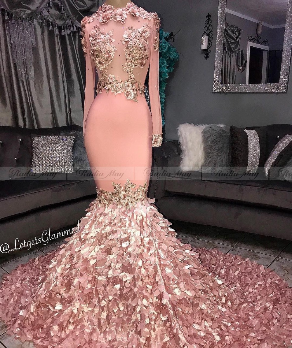 Elegant Pink Long Sleeves Mermaid Plus Size Prom Dresses with 3D Floral Train Long African Evening