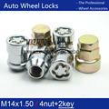 4NUTS+2KEYS M14x1.5 Chrome Wheel  Locks Nut Anti-sheft set security system For Lincoln MKX Ford EDGE MUSTANG F-150 S-MAX