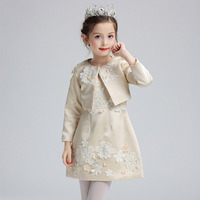Exquisite Cute Pearl Flower Princess Girls Dress Kids Floral Wedding Ceremonies Dresses With Jacket Baby Children Clothes Set