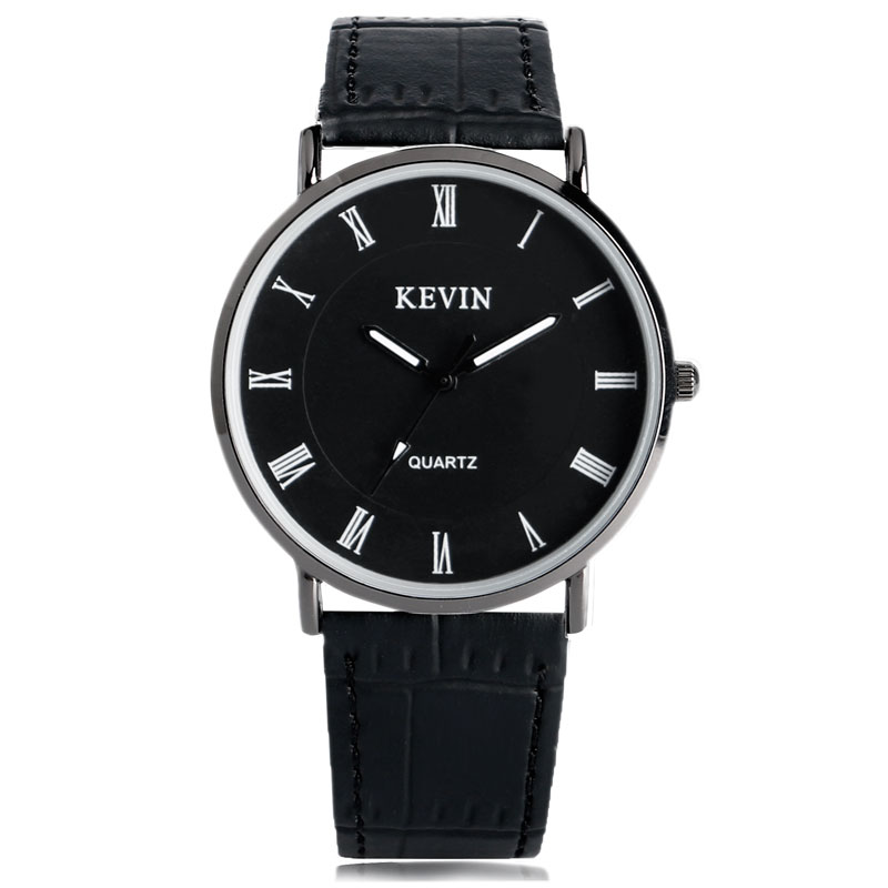 KEVIN Wristwatches Full Black Roman Numbers Dial Casual Simple Quartz Watch Women's Leather Wrist Watches Montre Femme bronze cool full hunter anchor pirate design theme fob pocket watch quartz roman number dial casual fashion chain best gift kids