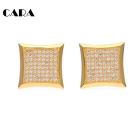 CARA 2017 New Gold Color Copper Bling Bling Square Studs Earrings Mens Womens Fashion Iced Out