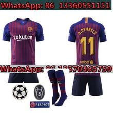 d7e515a8aa0 Champions League patch+sock Barcelonas 2018 MESSI SUAREZ Kids Jersey soccer  2019 Camisas Blue Dembele Messi INIESTA home footba