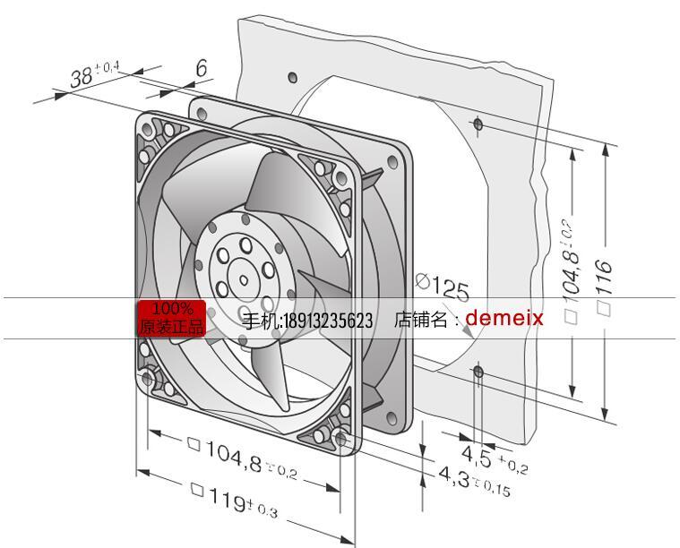 US $59.0 |ebm papst 4650N 465 Server Square Fan AC 230V 19W 120X120X38mm-in on